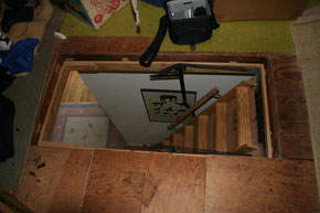 Before energy   saving attic staircase cover